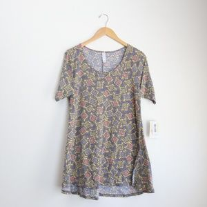 NWT LuLaRoe Perfect T Size Small, Gray and yellow